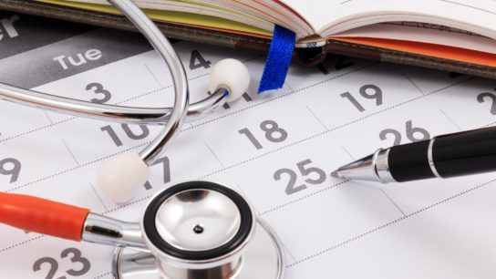 Calendar with stethoscope