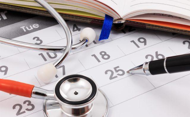 Calendar with stethoscope