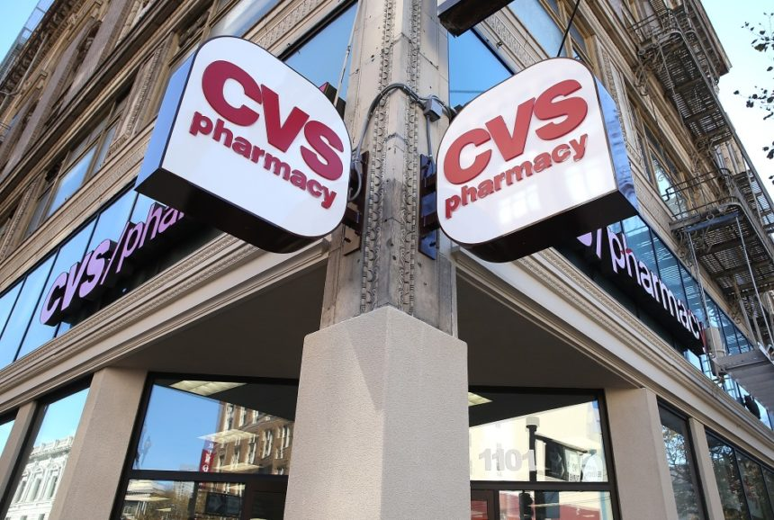 CVS logo displayed on a street corner