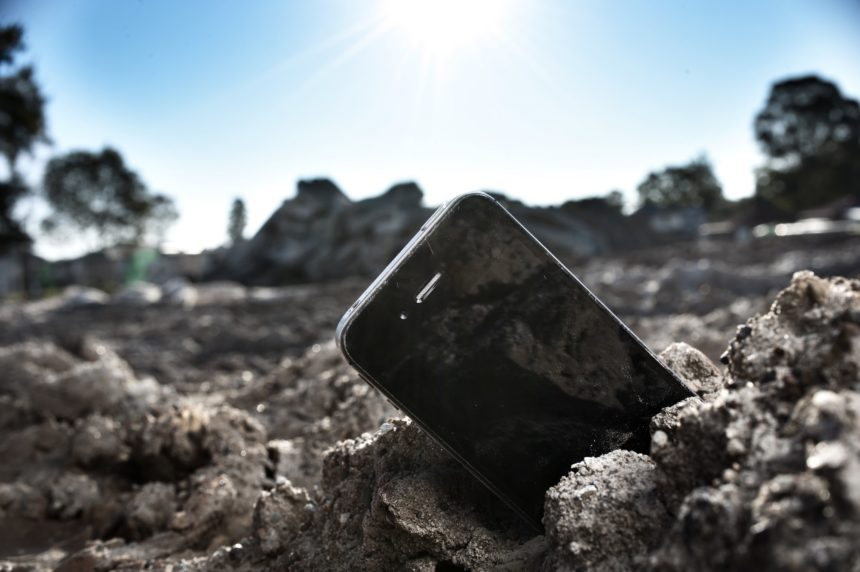 iphone in some rocks