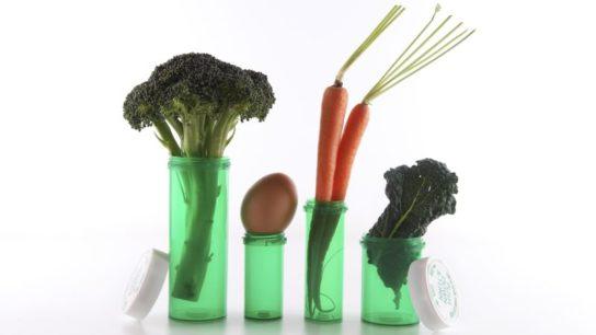 Vegetables placed in prescription bottles