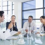Group of physicians socializing at work