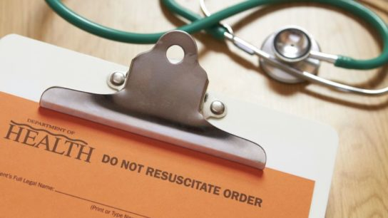 A 'Do Not Resuscitate' order form