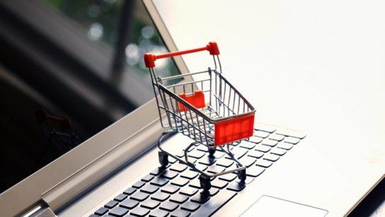 shopping cart, laptop