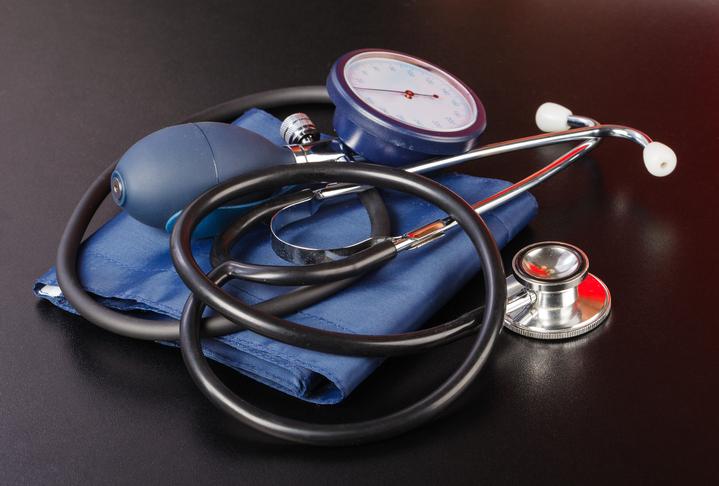 Blood pressure cuff and a stethoscope.