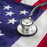 Healthcare, flag, stethoscope