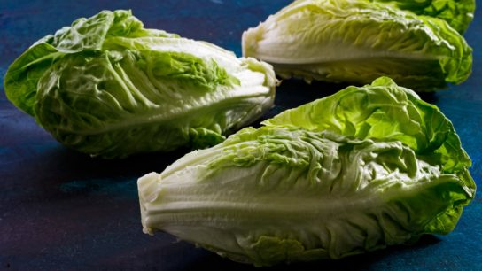 Three heads of romaine lettuce.
