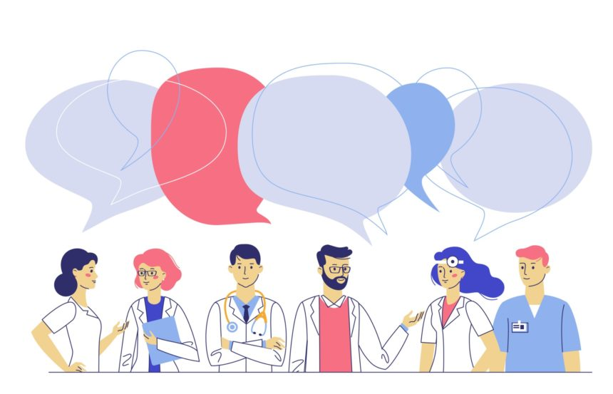 A group of healthcare providers with speech bubbles.