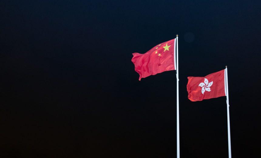 Chinese and Hong Kongese flags.