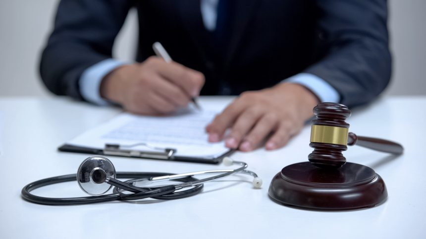 Lawyer, stethoscope, gavel