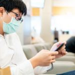 Patient wearing mask in waiting room