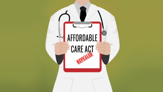 Illustration of doctor holding a clipboard with words Affordable Care Acts Repealed