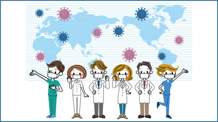 illustration of doctors with a map of world and covid virus in background