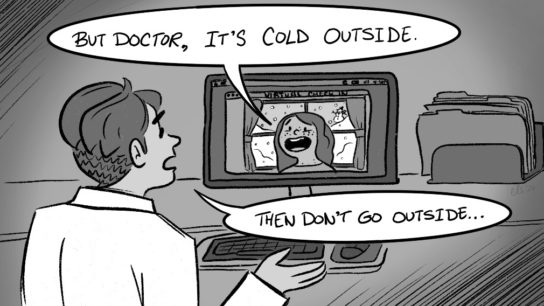 cartoon of patient telling doctor it's cold outside
