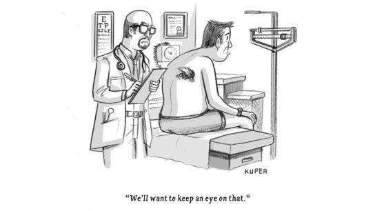 Cartoon of doctor diagnosing a mole