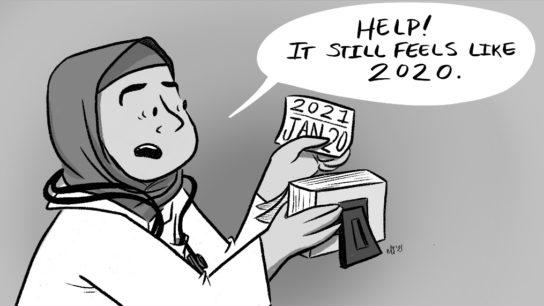 Cartoon of doctor hodling a calendar