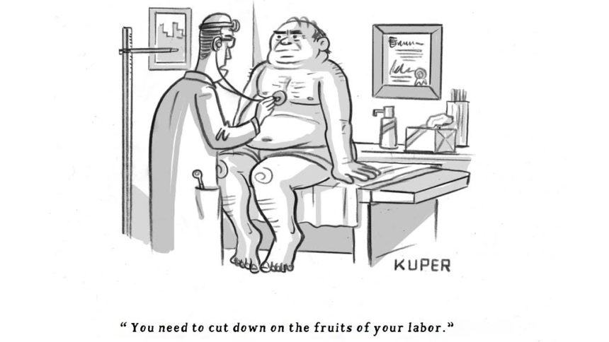 Cartoon of patient at physical