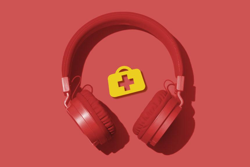 Headphones red Medical Bag logo