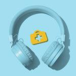 Headphones with Medical Bag logo blue