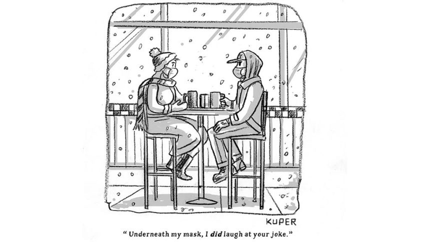Cartoon of two poeple sitting across each other in masks