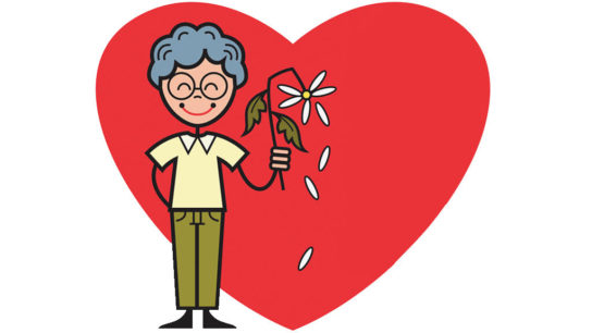 cartoon of person holding wilted flower