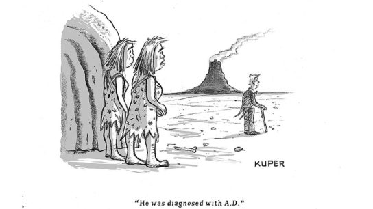 Cartoon of two people looking at a person diagnosed with AD