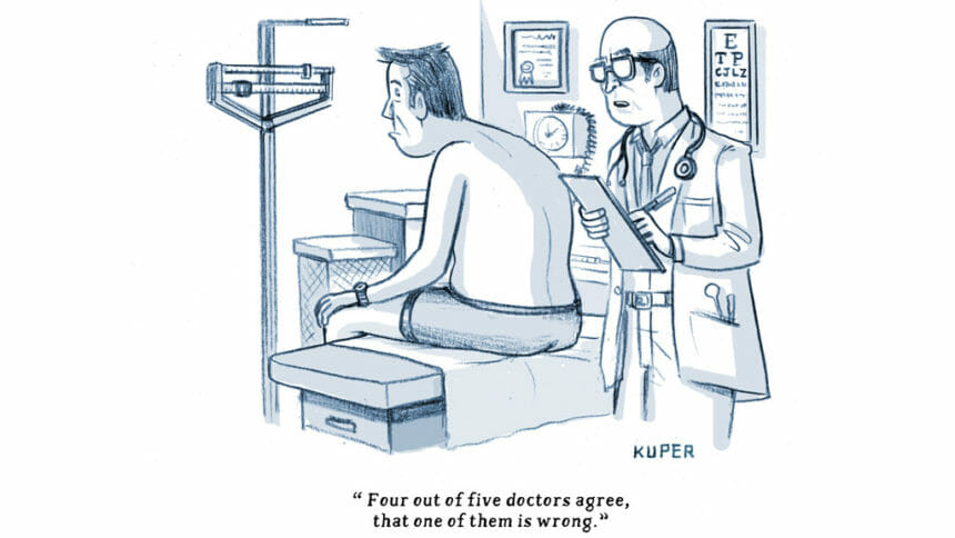 Cartoon of patient at doctor's