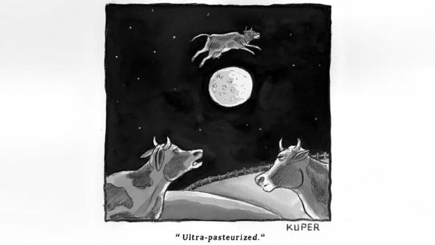 Cartoon of a cow jumping over the moon