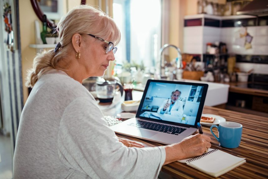 older woman consulting with doctor, telehealth, telemedicine